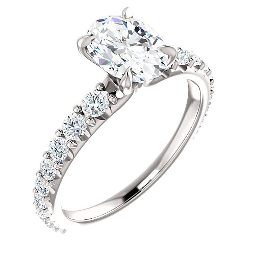 14K white gold diamond engagement ring with graduated prong set diamonds. Oval diamond engagement ring. White gold ring.