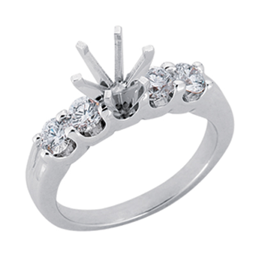 14K white gold engagement ring with shared prong accent stones. 5-stone ring. 5-stone engagement ring. Five stone engagement.