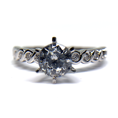 14K white gold diamond engagement ring with wavy bezel set accent diamonds. Diamond band. White gold engagement ring. Diamond