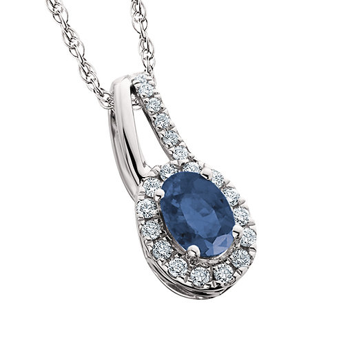 14K white gold and sapphire pendant with diamond halo and diamond accented bail. Sapphire necklace. Sapphire pendant. Diamond