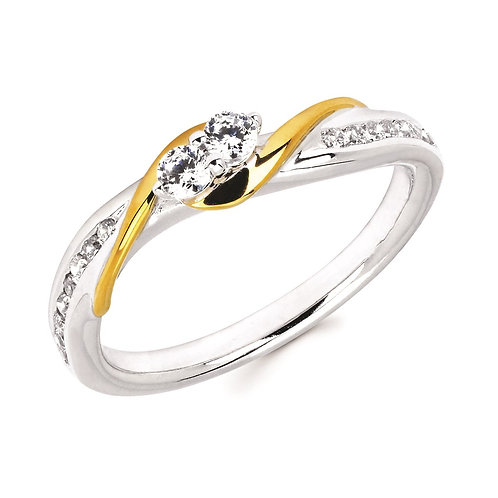 14K white and yellow gold two stone diamond ring. 2-stone. Two-stone. Diamond two stone ring. Forever us ring. 2Us Ever Us.