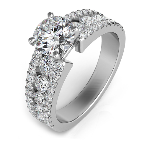 White gold engagement ring. Engagement ring mounting with diamonds. Diamond ring. Diamond engagement ring. White gold ring.