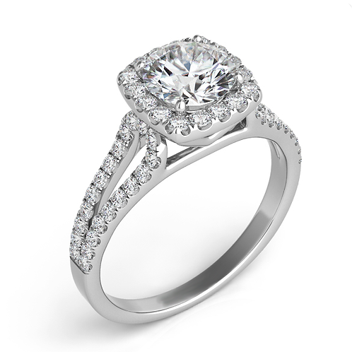 14K white gold engagement ring with split band and micro prong set diamond band and diamond halo. Round diamond center.