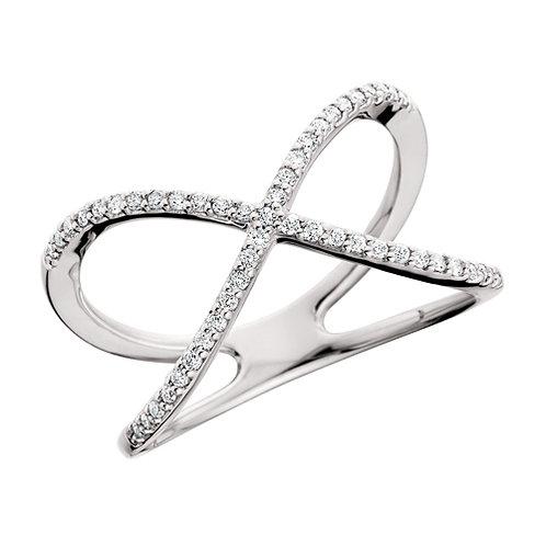"""14K white gold criss cross ring. """"X"""" ring. Crossover ring. White gold ex ring. Cross ring. White gold diamond cross ring."""