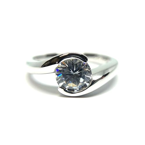 14K white gold bypass style engagement ring. Bezel set engagement ring. Round diamond engagement ring. Diamond band. Diamonds