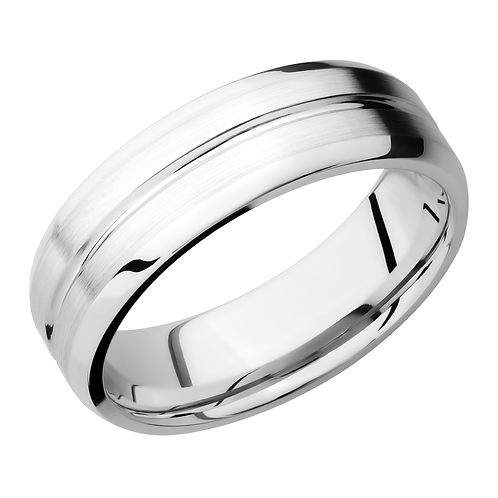 Men's cobalt chrome wedding band with satin finish and polished groove. Polished beveled edges. Mens wedding band. Men's ring