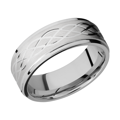 Cobalt chrome men's band with celtic wave pattern laser etched. Infinity men's ring. Men's cobalt wedding ring. Wedding band.