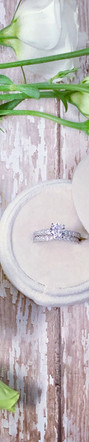 White Gold Diamond Engagement Ring with Diamond Accented Band