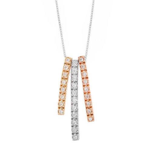 14K white yellow and rose gold tri-tone pendant with diamonds in slim rows. Slim row 3-tone pendant. Three tone gold pendant.