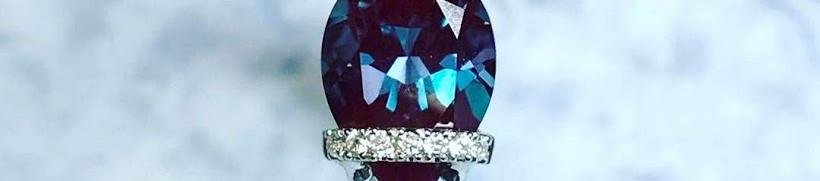 White Gold Alexandrite Ring with Diamonds