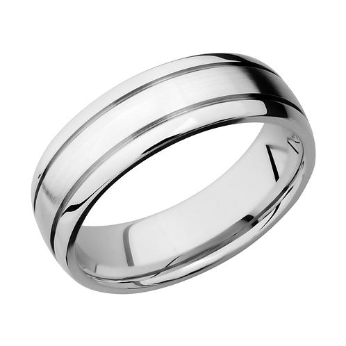 Men's double grooved domed cobalt chrome wedding band with satin finish center and polished edges. Men's cobalt ring. Men's.