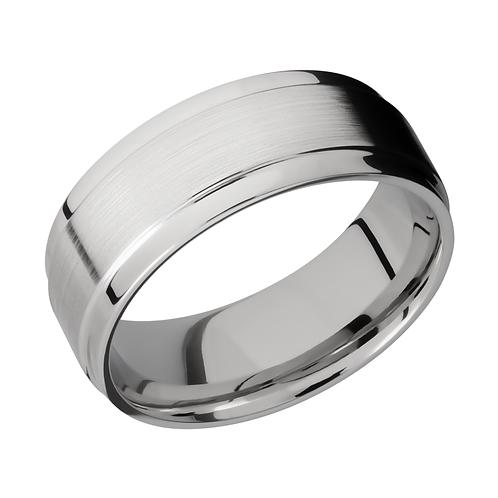 Men's cobalt chrome wedding band with wide polished stepped edge. Men's satin cobalt chrome wedding band with polished edges.