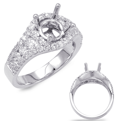 14K white gold diamond accented engagement ring. Micro pave and channel set diamond accents. Graduated stone size. Diamonds.