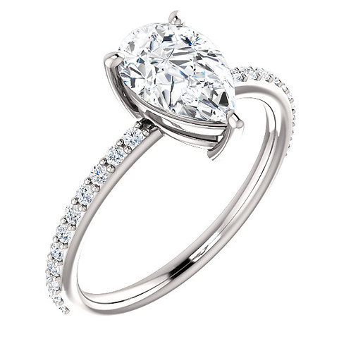 14K white gold diamond engagement ring with pear shaped diamond center stone in basket setting and prong set diamond accents.