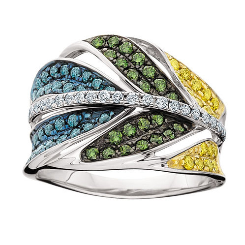14K White Gold and 1.00cttw White and Colored Diamond Feather Ring