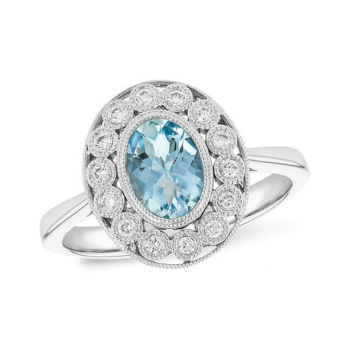 14K white gold vintage inspired ring with diamonds and oval aquamarine stone. March birthstone. Checkerboard aquamarine stone