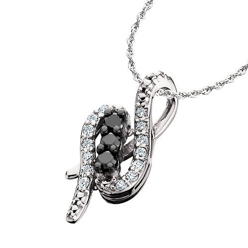 10K white gold, white diamond and black diamond swirl pendant. White diamond accented black diamond pendant. Diamond necklace
