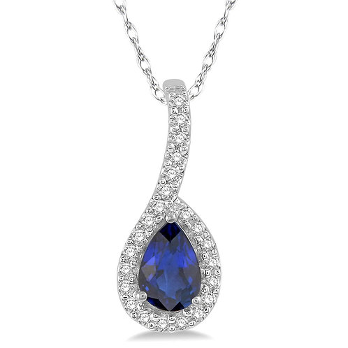 10K white gold diamond and pear shaped blue sapphire halo pendant necklace. Pear blue sapphire. Pear halo pendant. Sapphire.
