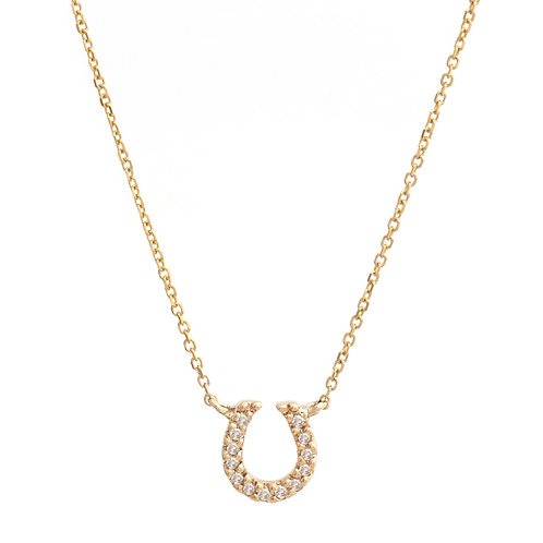 Petite horseshoe pendant in 14K yellow gold. Diamond horseshoe pendant. Horseshoe pendant with diamonds in yellow gold. Tiny.