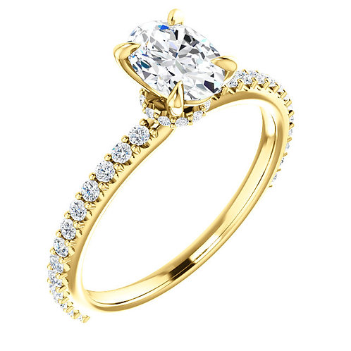 14K yellow gold diamond engagement ring with oval shaped diamond center and diamond accented band. Diamond collar. Diamonds.
