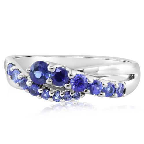 White gold ring. White gold sapphire ring. White gold sapphire band. Graduated sapphire band. Light blue sapphire. Sapphires.