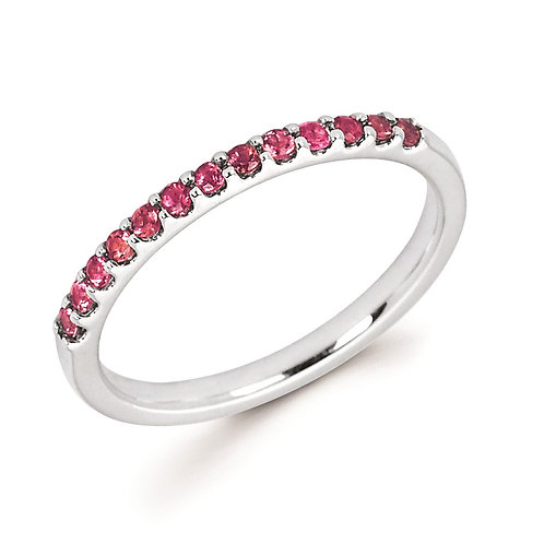 14K white gold stackable ring with prong set pink tourmaline gemstones. Stackable birthstone ring. October birthstone ring.
