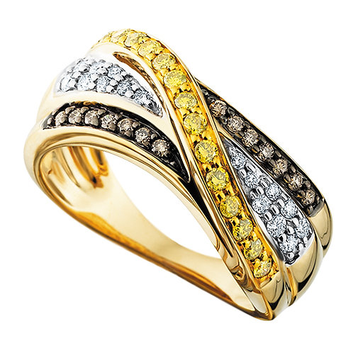 14K yellow gold ring with layered rows of white, brown, and yellow diamonds. Chocolate diamonds. Caramel diamonds. Cognac.