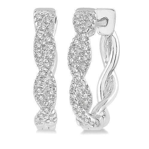 10K White Gold and .20cttw Diamond Woven Hoop Earrings
