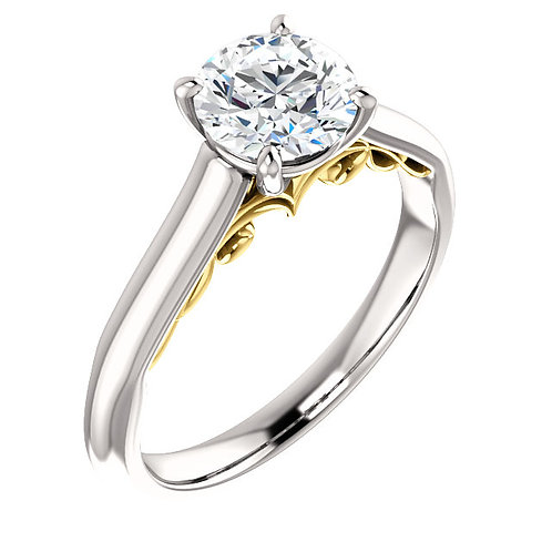 14K white gold diamond engagement ring with yellow gold filigree accented cathedral. Two tone engagement ring. Two tone gold.