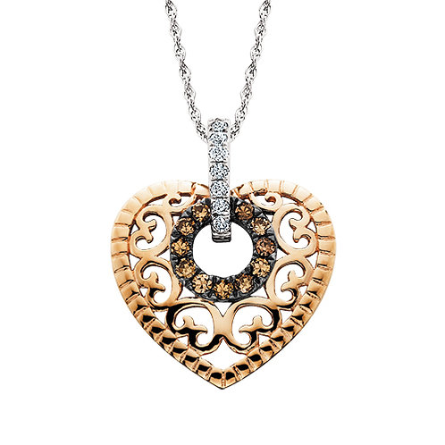 10K rose gold heart pendant with circle of champagne diamonds and white diamond accented white gold bail. Two tone heart.