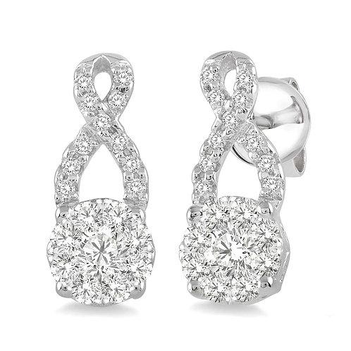 """14K white gold """"WOW!"""" diamond stud earrings. Infinity inspired dangle earrings. Diamond earrings. White gold stud earrings."""