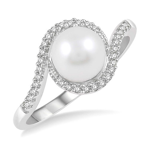 10K white gold and pearl ring with diamond accents. Diamond accented pearl ring. Bypass ring. Pearl bypass white gold ring.