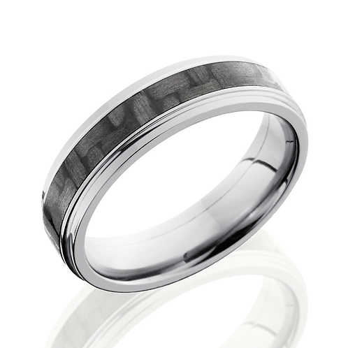 Men's Titanium Wedding Band With Black Carbon Fiber Inlay and Flat Grooved Edges