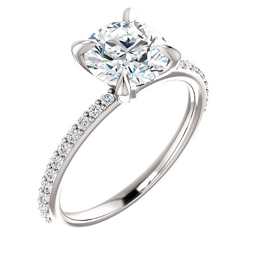 14K White Gold and .50cttw Diamond Accented Solitaire Engagement Ring