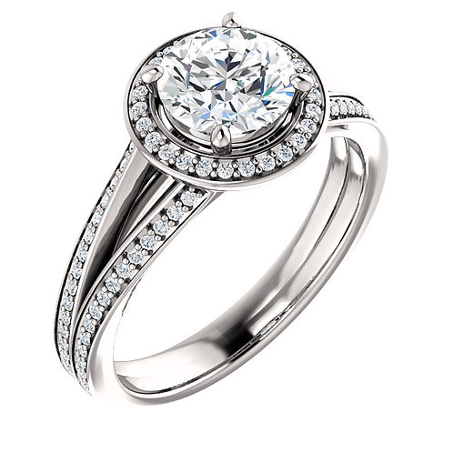 14k white gold engagement ring with diamond accents and diamond halo. Diamond engagement ring in white gold. White gold ring.