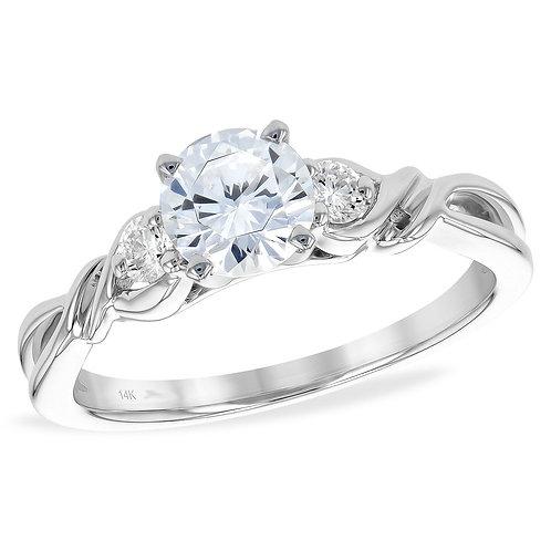 14K white gold diamond engagement ring. White gold three stone diamond engagement ring. Accented three stone ring. Split band