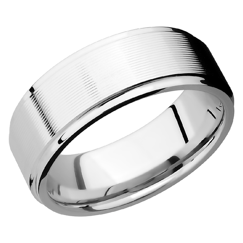 Men's cobalt chrome wedding band with machine finish. Striped men's ring. Men's band. Wedding band. Men's cobalt ring. White.