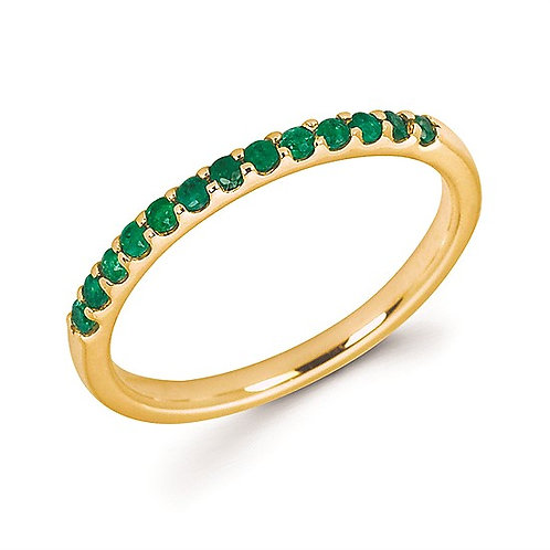 14K yellow gold stackable birthstone ring with emerald stones. Emerald stackable ring. Yellow gold emerald ring. Stacking.
