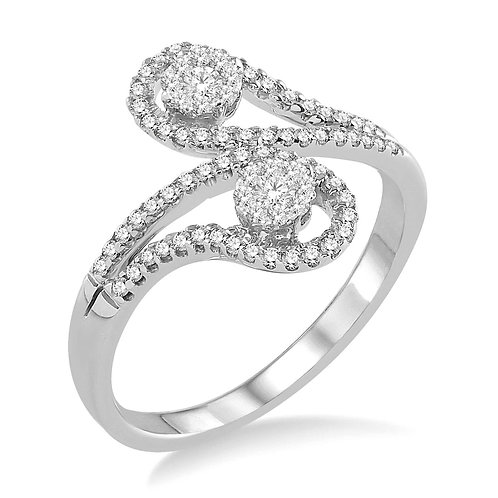 "14K white gold 2-stone ""WOW!"" Diamond ring. Two stone ring. Two-stone ring. Two stone ring with ""WOW!"" diamond centers. 2Us"