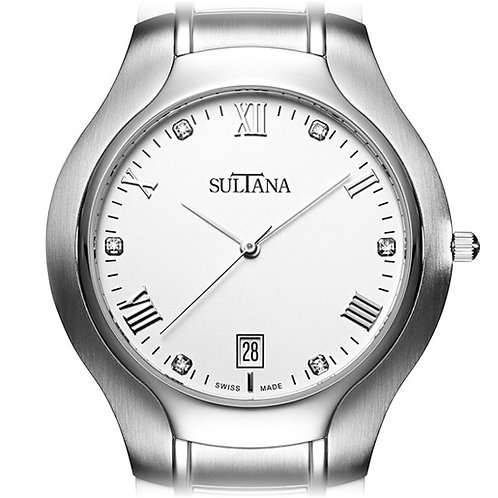 Men's Sultana Swiss movement watch with sapphire crystal and white dial. Stainless steel men's watch with diamonds. Men's.