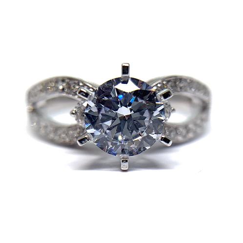 14K white gold split band diamond engagement ring. White gold diamond ring with diamond accented shank. Engagement ring.