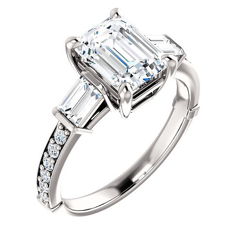 14K white gold diamond engagement ring with emerald cut diamond center stone and emerald cut accents. baguette accent stones.