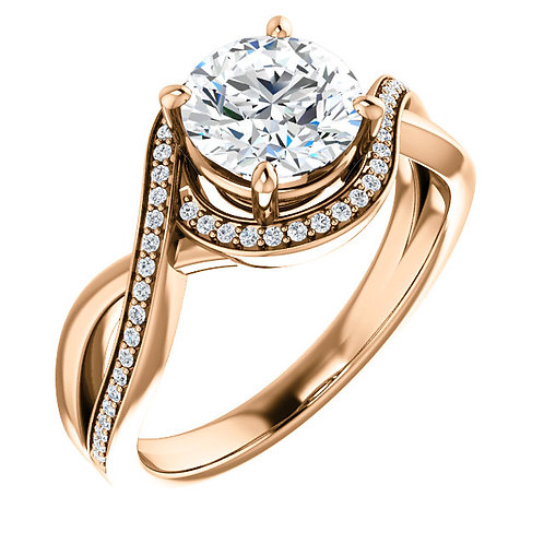 14K rose gold diamond engagement ring with diamond band and diamond halo. Bypass style engagement ring. Rose gold diamond.