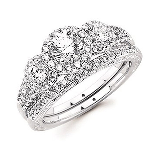 14K white gold three stone 3-stone 3 stone diamond engagement ring. Triple halo. Halo engagement ring. White gold engagement.