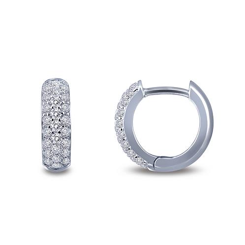 Huggie earrings. Platinum plated sterling silver simulated diamond earrings. Tiny hoop earrings. Small hoops. Simulated hoops