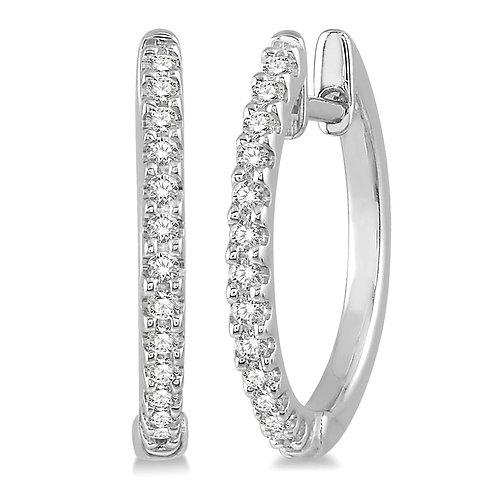 10K white gold diamond huggie hoop earrings. White gold diamond earrings. Hoop earrings. Diamond earrings. White gold earring