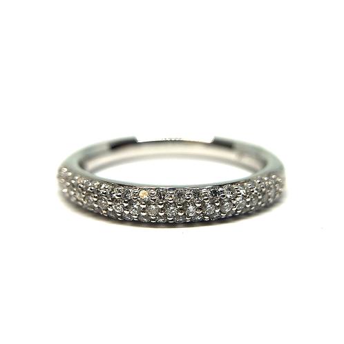 14K white gold micro pave diamond stackable ring. White gold diamond band. Diamond band with micro pave set stones. White.