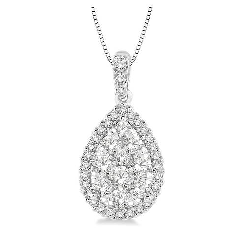 14K white gold pear shaped diamond pendant with diamond halo. Diamond halo pendant. Teardrop diamond pendant. White gold.