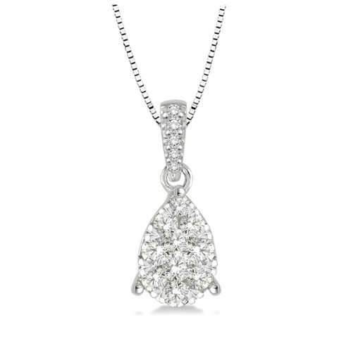 14k white gold and 30cttw wow diamond pear shaped pendant 14k white gold and diamond pearl shaped pendant pear shaped cluster diamond pendant aloadofball Image collections