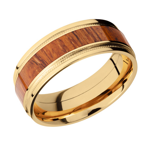 14k Yellow Gold Mens Wedding Band With Millgrain Details And Desert Ironwood Wood Inlay Hardwood